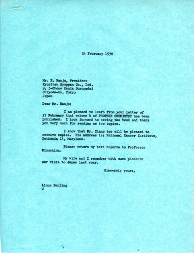 Letter from Linus Pauling to H. Nanjo. Page 1. February 24, 1956