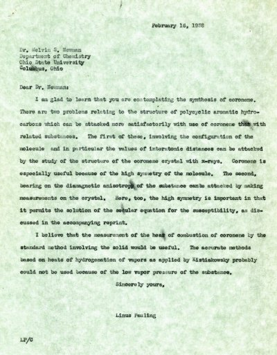 Letter from Linus Pauling to Melvin S. Newman. Page 1. February 16, 1938