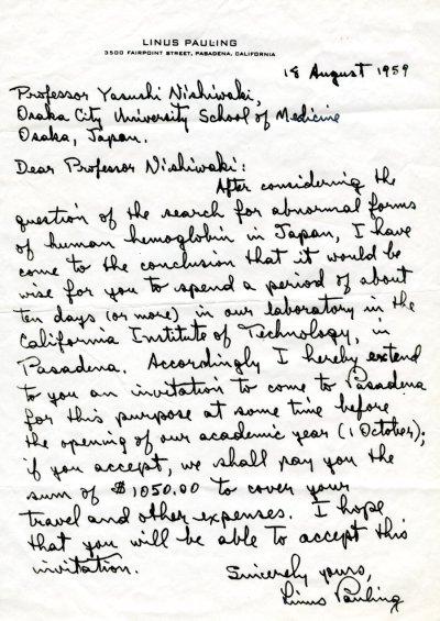 Letter from Linus Pauling to Yasushi Nishiwaki. Page 1. August 18, 1959