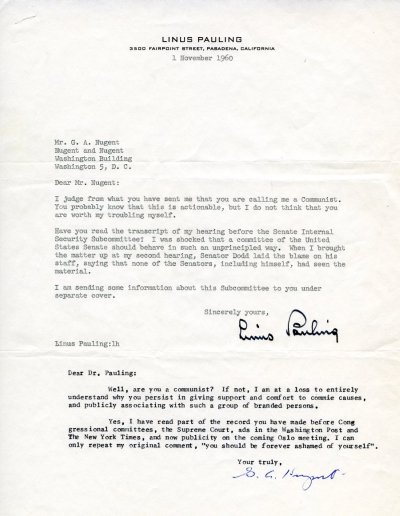 Letter from Linus Pauling to G. A. Nugent. Page 1. November 1, 1960