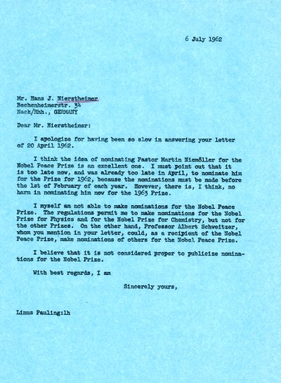 Letter from Linus Pauling to Hans J. Nierstheimer.Page 1. July 6, 1962