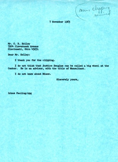 Letter from Linus Pauling to C. B. Kelley. Page 1. November 7, 1963