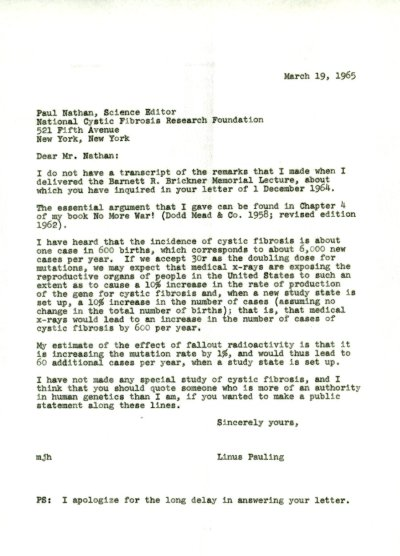 Letter from Linus Pauling to Paul Nathan.Page 1. March 18, 1965