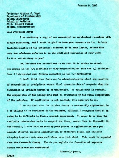 Letter from Linus Pauling to William C. Boyd. Page 1. January 9, 1941