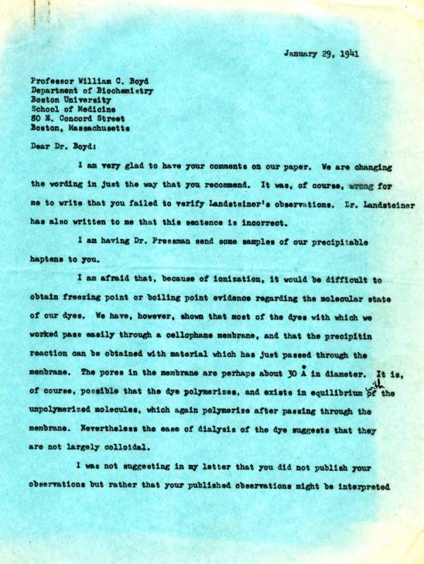 Letter from Linus Pauling to William C. Boyd.Page 1. January 29, 1941