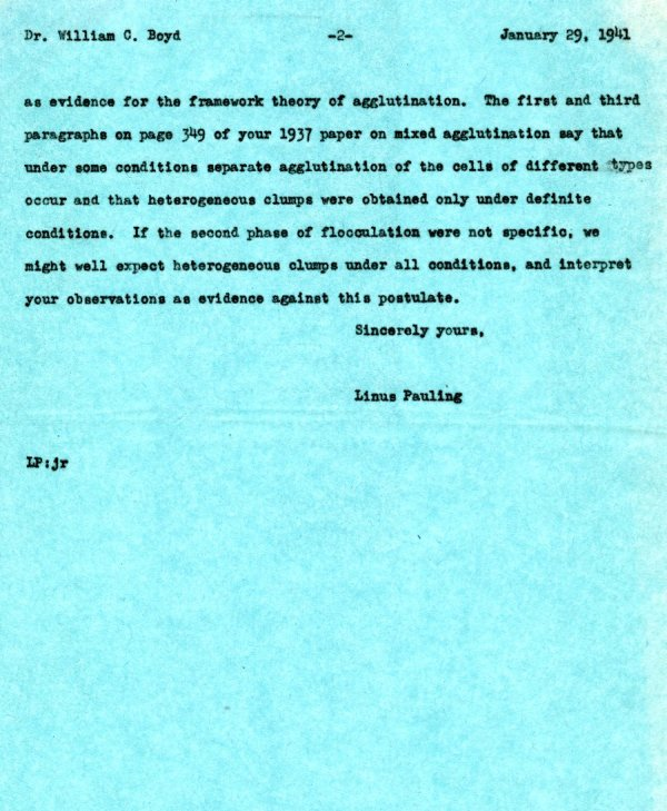 Letter from Linus Pauling to William C. Boyd.Page 2. January 29, 1941