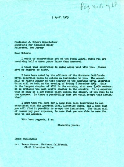 Letter from Linus Pauling to Robert J. Oppenheimer. Page 1. April 9, 1963