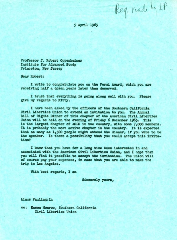Letter from Linus Pauling to Robert J. Oppenheimer.Page 1. April 9, 1963