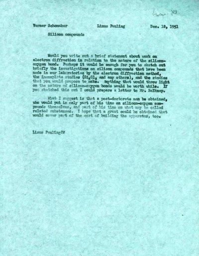 Memorandum from Linus Pauling to Verner Schomaker.Page 1. December 18, 1951