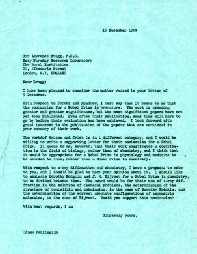 Letter from Linus Pauling to W.L. Bragg. Page 1. December 15, 1959