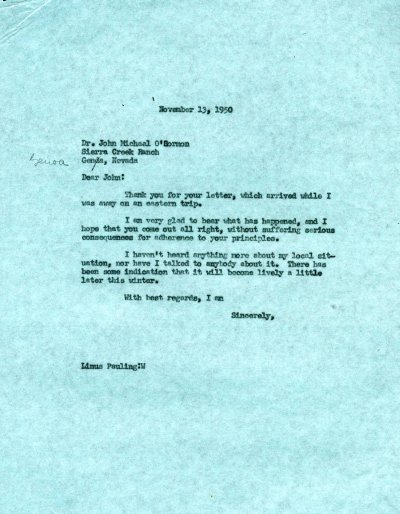 Memorandum from Linus Pauling to John Michael O'Gormon. Page 1. November 13, 1950