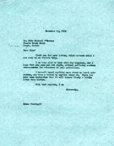 Memorandum from Linus Pauling to John Michael O'Gormon.Page 1. November 13, 1950