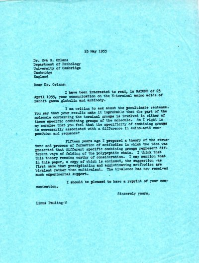 Letter from Linus Pauling to Eva S. Orlans. Page 1. May 23, 1955
