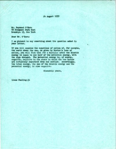 Letter from Linus Pauling to Raymond O'Hara. Page 1. August 24, 1959