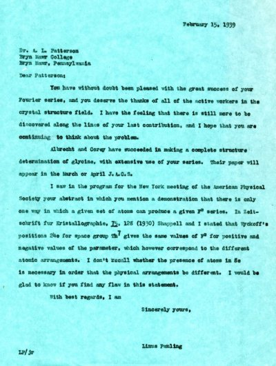 Letter from Linus Pauling to A.L. Patterson.Page 1. February 15, 1939