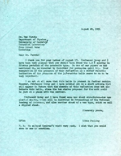 Letter from Linus Pauling to Max Perutz.Page 1. August 29, 1951