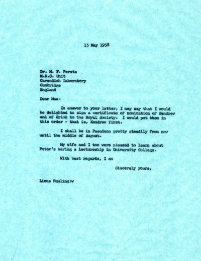 Letter from Linus Pauling to Max Perutz. Page 1. May 13, 1958