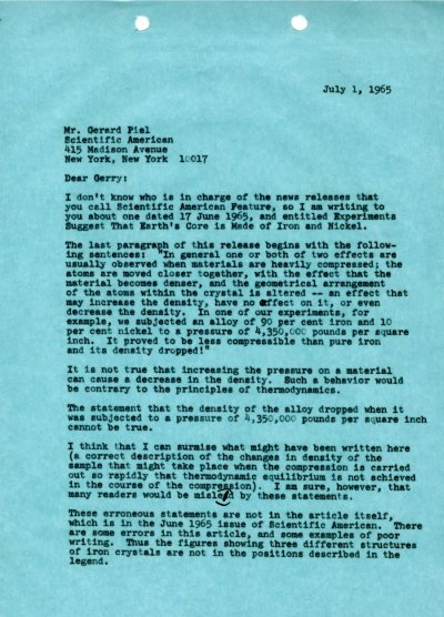 Letter from Linus Pauling to Gerard Piel. Page 1. July 1, 1965