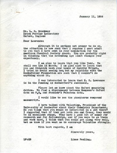 Letter from Linus Pauling to Lawrence Brockway. Page 1. January 11, 1938