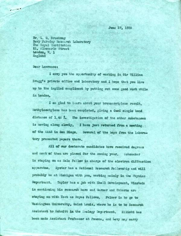 Letter from Linus Pauling to Lawrence Brockway. Page 1. June 27, 1938