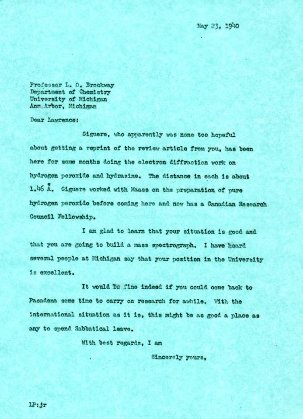 Letter from Linus Pauling to Lawrence Brockway. Page 1. May 23, 1940