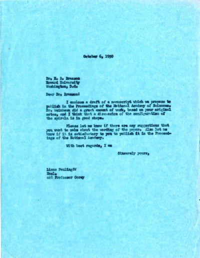Letter from Linus Pauling to Herman Branson.Page 1. October 6, 1950