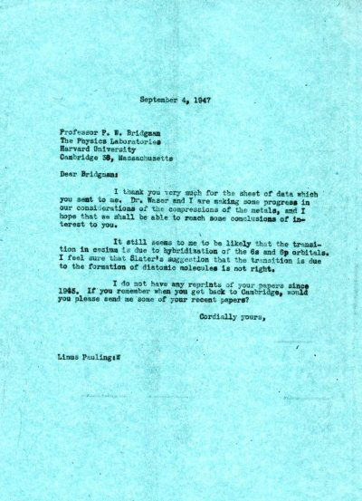 Letter from Linus Pauling to P.W. Bridgman. Page 1. September 4, 1947
