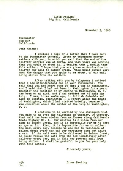 Letter from Linus Pauling to the Postmaster of Big Sur, California.Page 1. November 3, 1965