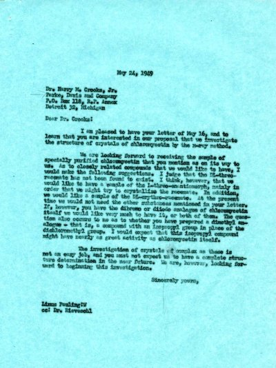 Letter from Linus Pauling to Harry M. Crooks, Jr. Page 1. May 24, 1949