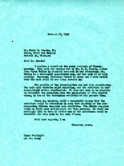 Letter from Linus Pauling to Harry M. Crooks, Jr. Page 1. October 17, 1949