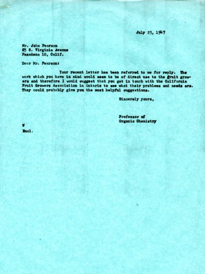 Letter from Linus Pauling to John Pearson. Page 1. July 23, 1947