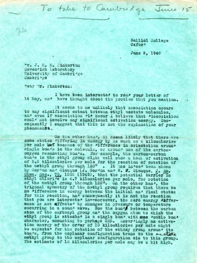 Letter from Linus Pauling to J.M.M. Pinkerton. Page 1. June 8, 1948