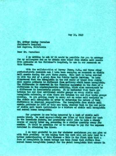 Letter from Linus Pauling to Arthur Hawley Parmalee. Page 1. May 10, 1949