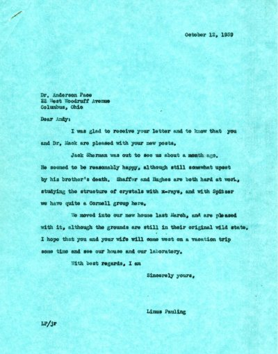 Letter from Linus Pauling to Anderson Pace.Page 1. October 12, 1939
