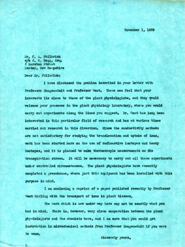 Letter from Linus Pauling to Frederick A. Philbrick.Page 1. November 1, 1939