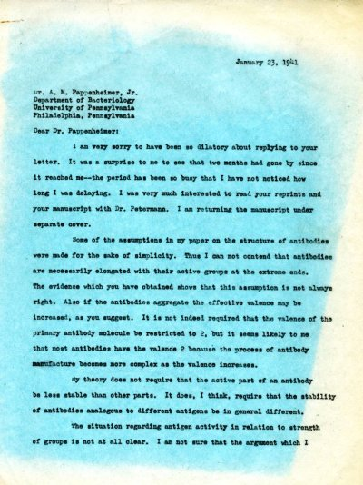 Letter from Linus Pauling to A.M. Pappenheimer, Jr. Page 1. January 23, 1941