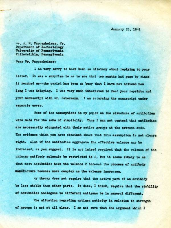 Letter from Linus Pauling to A.M. Pappenheimer, Jr.Page 1. January 23, 1941