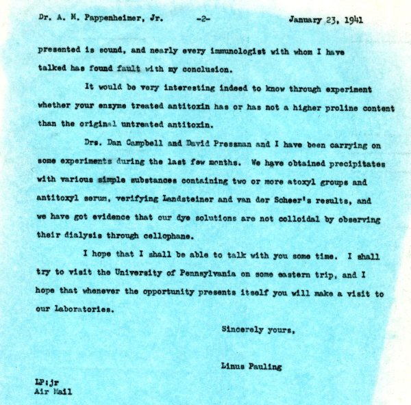 Letter from Linus Pauling to A.M. Pappenheimer, Jr.Page 2. January 23, 1941