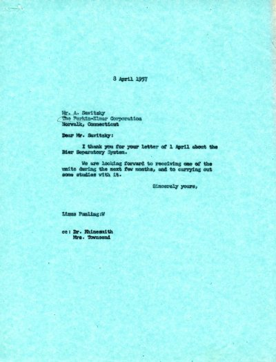 Letter from Linus Pauling to A. Savitsky Page 1. April 8, 1957
