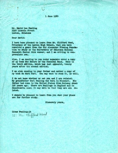 Letter from Linus Pauling to David Lee Pauling. Page 1. June 1, 1960