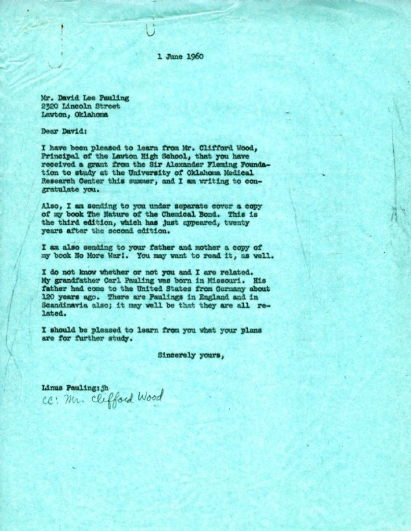 Letter from Linus Pauling to David Lee Pauling.Page 1. June 1, 1960