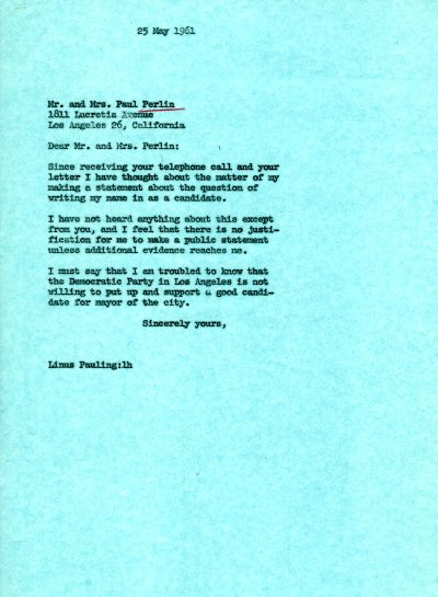 Letter from Linus Pauling to Mr. and Mrs. Paul Perlin. Page 1. May 25, 1961