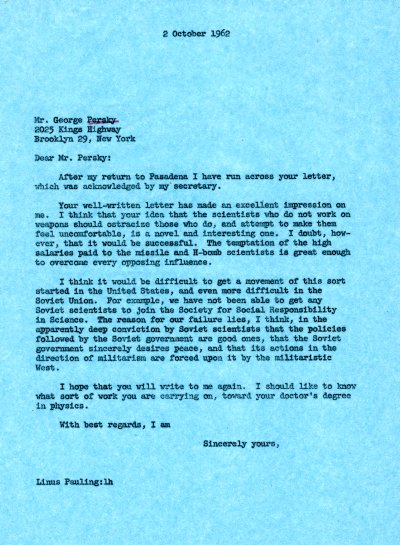 Letter from Linus Pauling to George Persky. Page 1. October 2, 1962