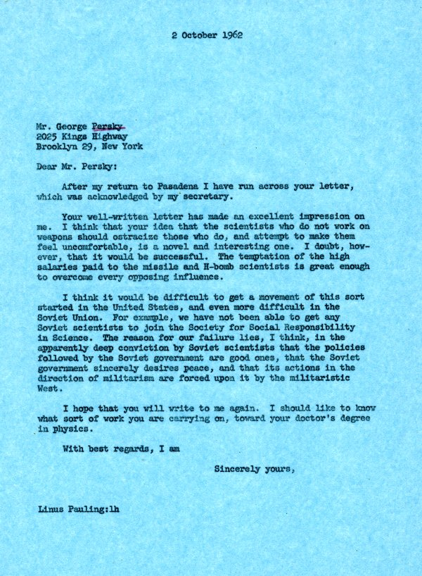 Letter from Linus Pauling to George Persky.Page 1. October 2, 1962