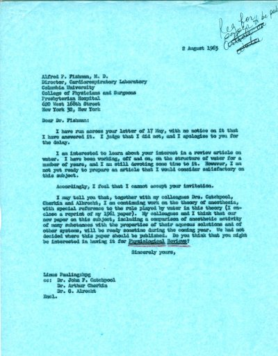 Letter from Linus Pauling to Alfred Fishman.Page 1. August 2, 1963