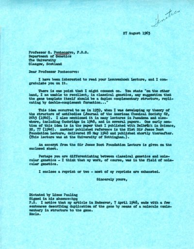 Letter from Linus Pauling to G. Pontecorvo. Page 1. August 27, 1963