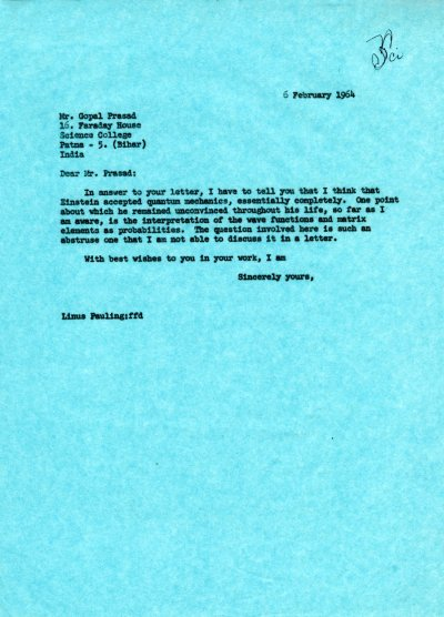 Letter from Linus Pauling to Gopel Prasad. Page 1. February 6, 1964