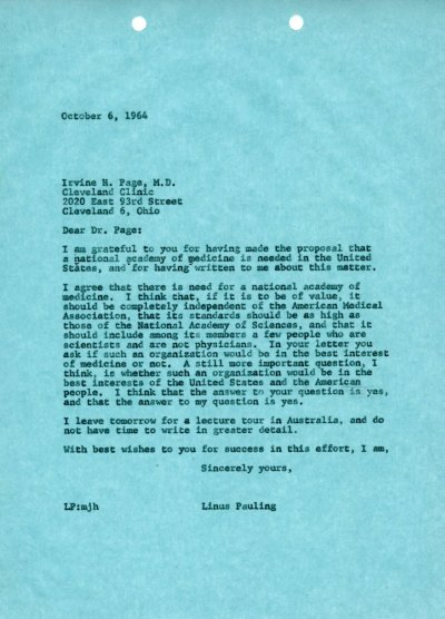 Letter from Linus Pauling to Irvine Page. Page 1. October 6, 1965