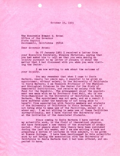 Letter from Linus Pauling to Edmund G. Brown. Page 1. October 15, 1965