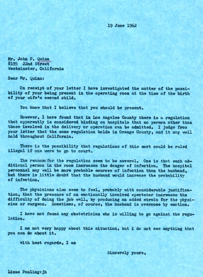 Letter from Linus Pauling to John P. Quinn. Page 1. June 19, 1962